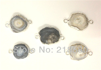 H-DPB09 10pcs  Agat Drusy  Agat Stone Connector Druzy Pendant Silver Plated 20mm-30mm (RANDOM IN SHAPE)