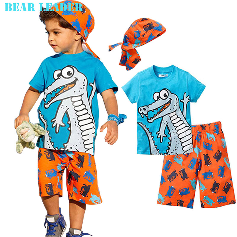 Bear Leader 2016 Active boys sets boy shorts Cartoon suits summer short sleeve T-shirt + plaid pants + hat 3 pieces clothing set