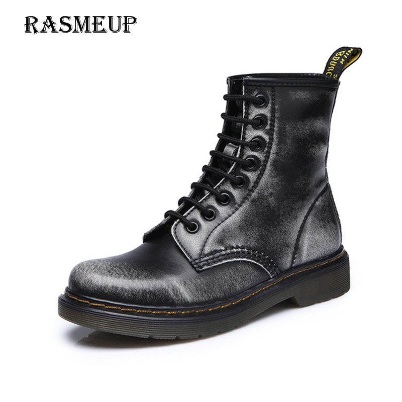 RASMEUP Genuine Leather Women's Martin Boot New Spring Fashion Woman Platform Ankle Boots Women Breathable White Black Grey Shoe