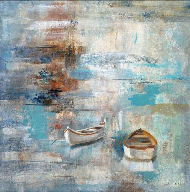 Abstracte Schilderijen Boten zeegezichten modern art olie