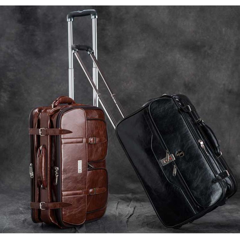 LeTrend Brown Retro PU Leather Travel Bags Men Business Rolling Luggage Suitcase Wheels 17 Inch Cabin Trolley Laptop Bag