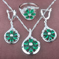 2017 New Green Stone Cubic Zirconia Women's Stamped 925 Silver Jewelry Sets Necklace Pendant Earrings Rings Free Shipping TZ071