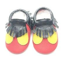 821f26d5306 Νέα Άφιξη Δωρεάν αποστολή Μωρό Παπούτσια Mickey και Minnie Γνήσιο Δερμάτινο  Μωρό Moccasins Baby Fringe Baby