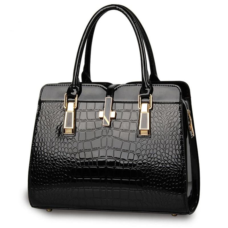 Casual Black PU Women Handbag Crocodile Pattern Crosss Office Lady Shoulder Bag zea snb oo1 concise butterfly pattern pu handbag shoulder bag for women black