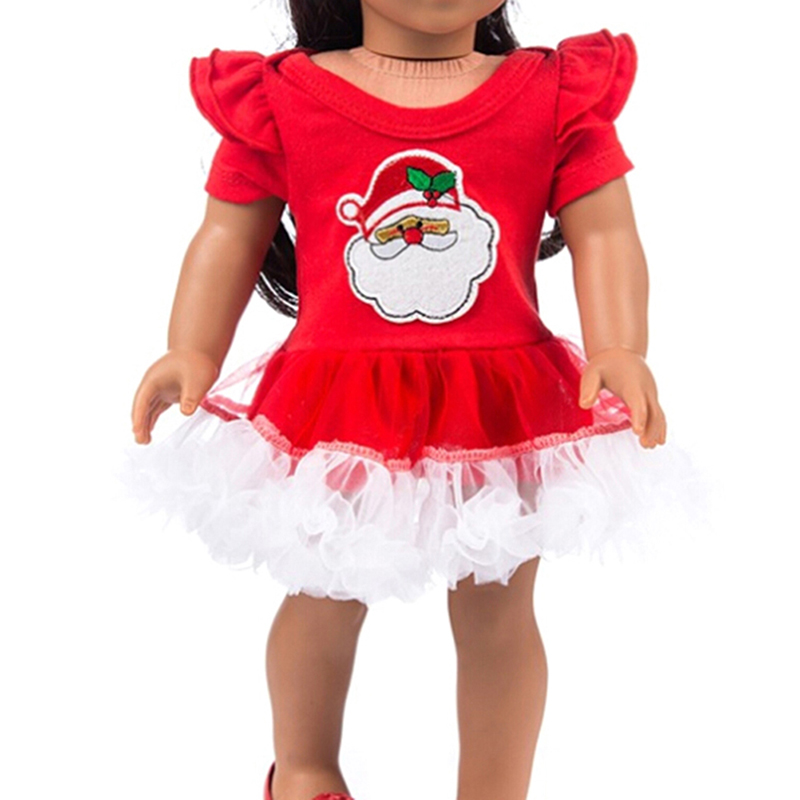 2019 baby Doll Clothes Red Christmas Dress Suit Fit 43cm Baby Doll Accessories Christmas Gift drop shipping