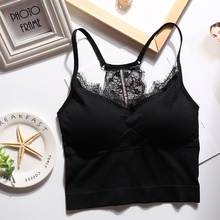 Summer Tank Top 2019 Women Sexy Lace Camisole Beauty Back Seamless Padded Top skull flower tank top with openwork lace back