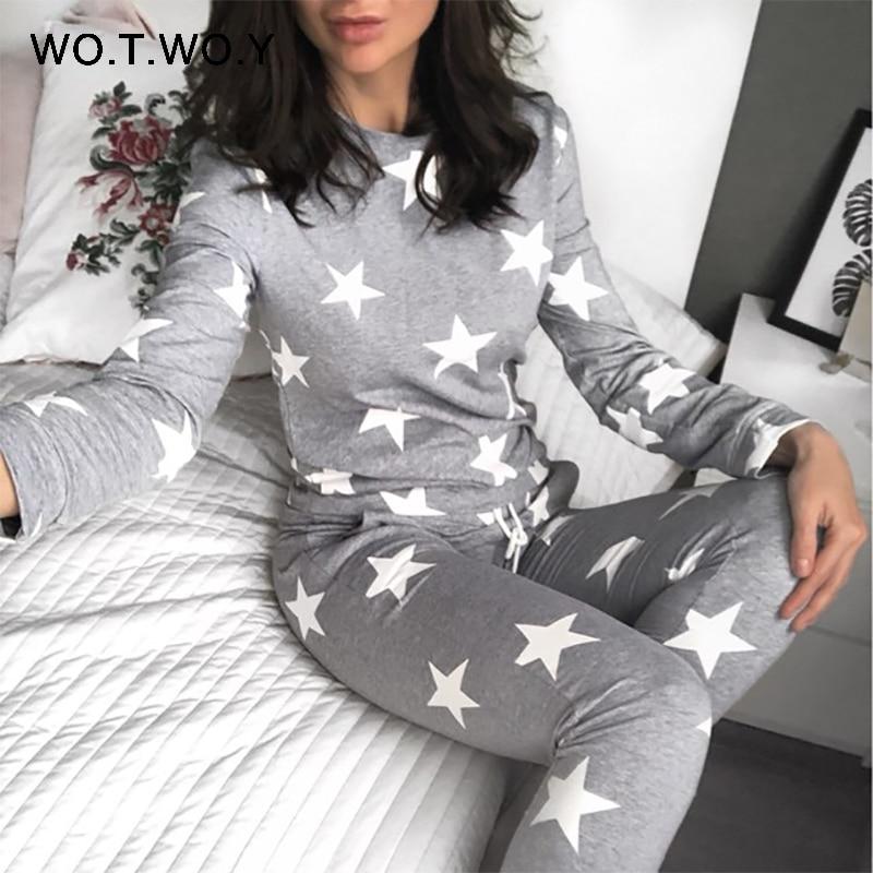 WOTWOY Stars Print Two Piece Set Women Winter Pyjamas Sets Casual O Neck Cotton 2 Piece Set Women 2017 Pant And Top Sleepwear