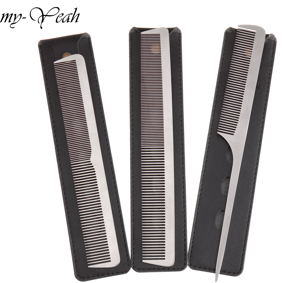 3 Style Metal Hair Comb Detangling Hairstyling Straightening Section Comb Barber Haircutting Combs With Leather Case