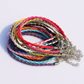 "Wholesale 7.8"" Mixed Color Leather Braided Charm Bracelets For Beads Bulk Bracelet Cords With Lobster Clasps For Jewelry Making"