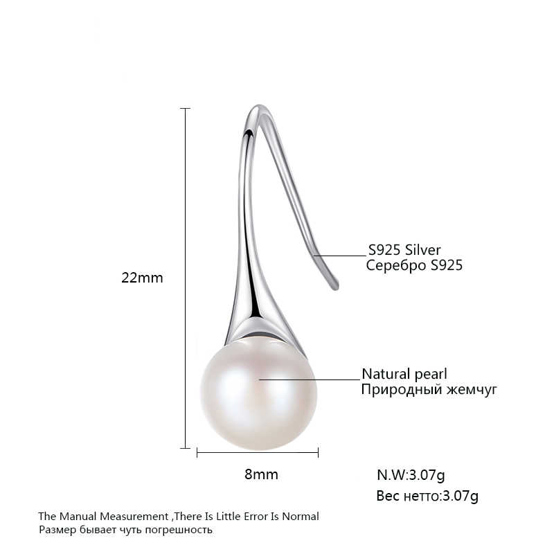 LUOTEEMI 2018 Female Fashion Natural Freshwater Pearl Jewelry 925 Sterling Silver Dorp Earring For Women Wedding Party Earrings