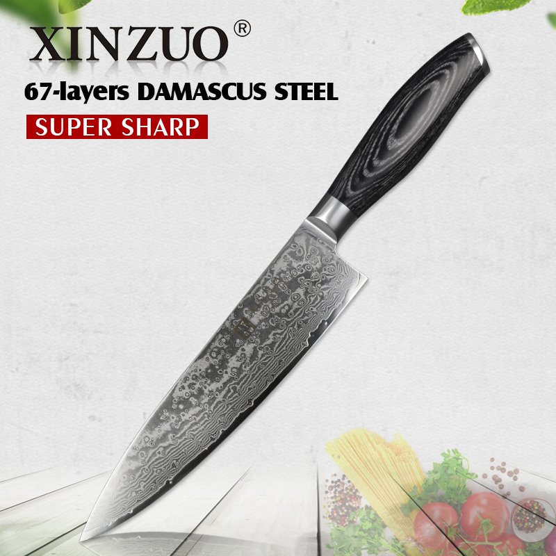 XINZUO 8 '' inci Chef Knife Gyuto Knife Jepun VG10 Damascus Kitchen Knives Stainless Steel Butcher Butcher Pakka wood handle