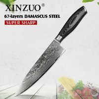 Xinzuo 8 ''Pollici Chef Coltello Gyuto Coltello Giapponese VG10 Damasco Coltelli da Cucina in Acciaio Inox Coltello da Macellaio Pakka Manico in Legno