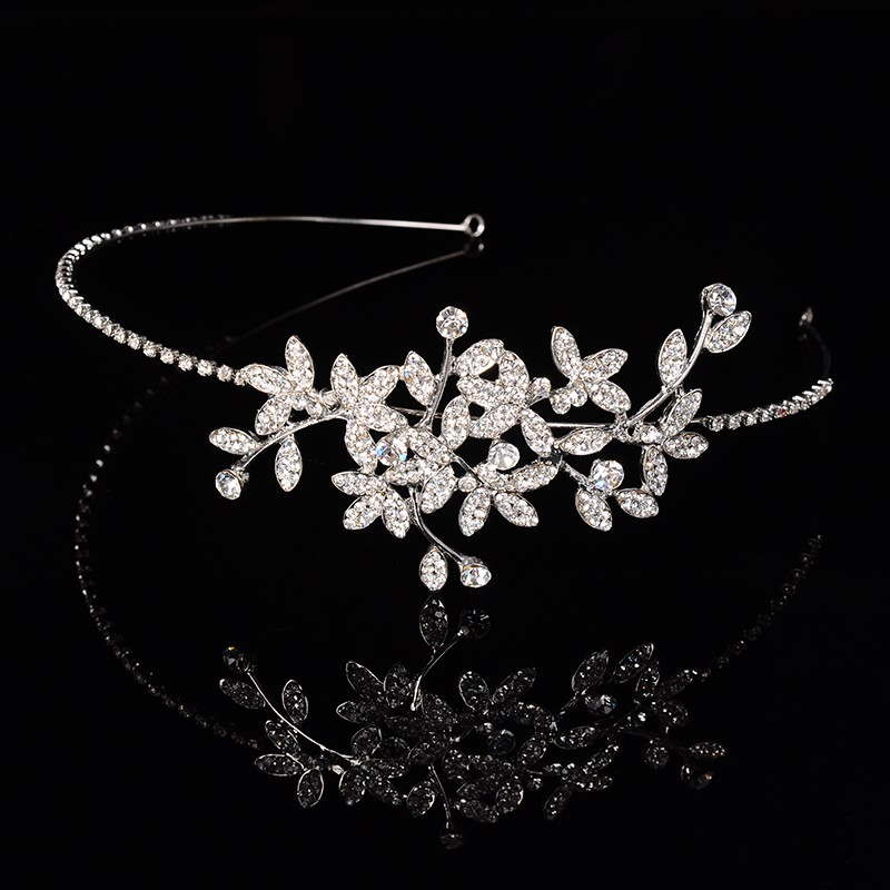 925 sterling silver luxury leaves design bridal tiara for women Austrian crystal wedding hair accessories 585 gold plated crown hair jewelry HF002 (6)