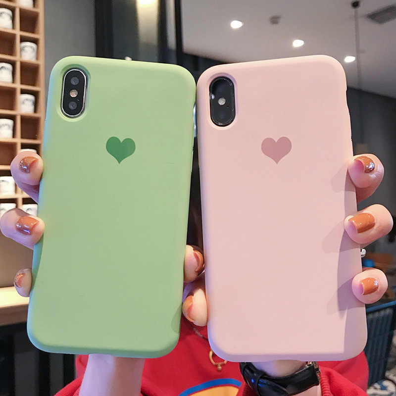 Soft Matte Candy Heart Love phone Case for Apple iphone XS MAX XR Ten X 10 7 8 6 6s Plus TPU Silicone cover Original fundas