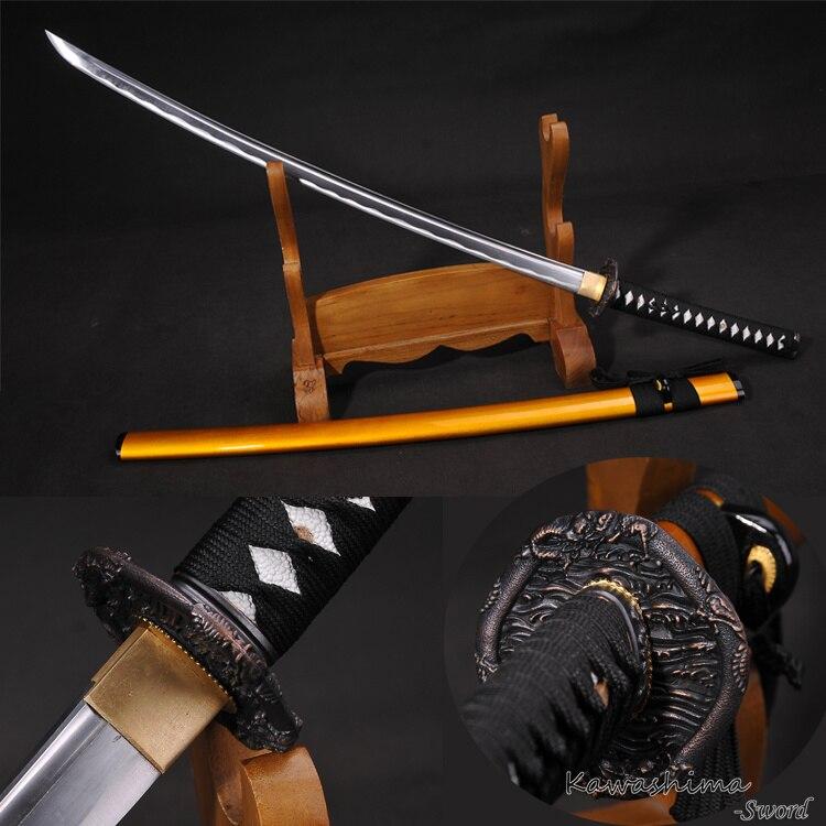 Épée japonaise en acier à haute teneur en carbone véritable Katana Tang rasoir tranchant Dragon garde or fourreau en bois-41 pouces