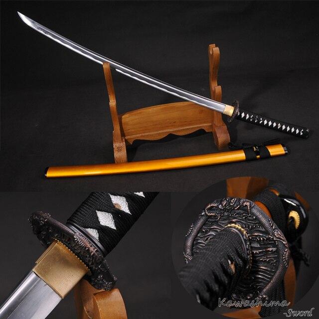 Японский меч из высокоуглеродистой стали, настоящая катана, полностью защищенная бритва с острым драконом, золотистые деревянные ножны-41 д...