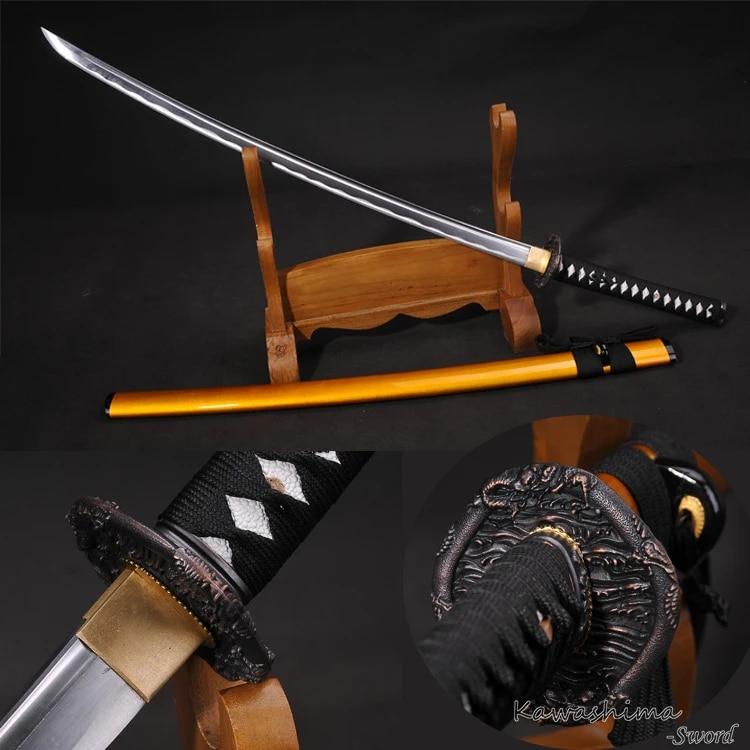High Carbon Steel Japanese Sword Real Katana Full Tang Razor Sharp Dragon Guard Gold Wooden Scabbard…