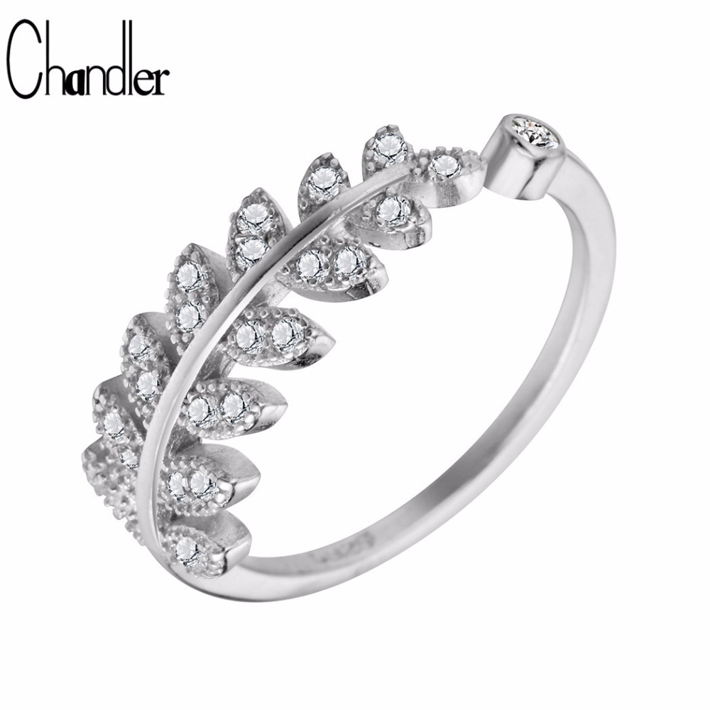 628f9ad397440 Chandler Original 925-Sterling-Silver White CZ Crystal Leaves Leaf Rings  For Women Open