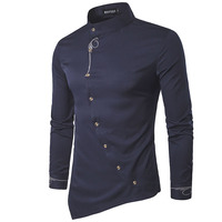 2017 New Fashion Brand Men Shirt Oblique Buckle Dress Shirt Long Sleeve Slim Fit Camisa Masculina