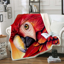 Plstar Cosmos colorful Parrot brid Blanket 3D print Sherpa on Bed Kids Girl Flower Home Textiles Dreamlike style-12