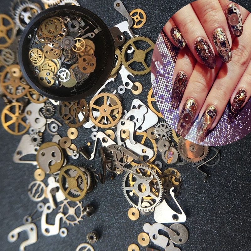 1 Box Steampunk Nail Decorations Ultra Thin Wheel Gear 3D Decoration Steam Punk Metal Nail Art Manicure Nail Studs Accessories steampunk vintage sunglasses men brand designer round sunglasses steam punk metal coating sun glasses women retro oculos de sol