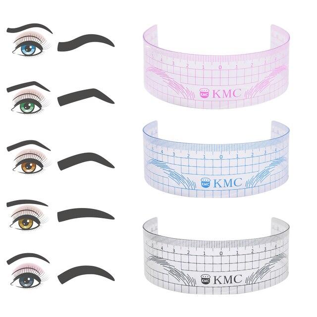 Microblading Eyebrow Ruler 3Pcs Permanent Makeup Plastic Transparent Measure Shaping Tool Reusable Eyebrow Stencil Tattoo Supply 1