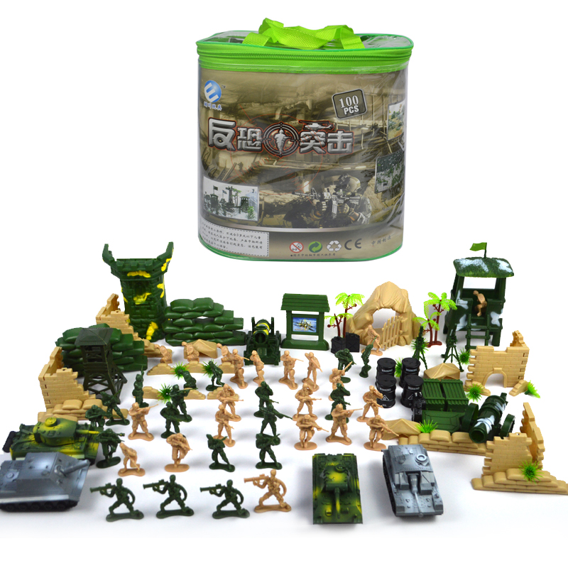 100pcs set Military Soldier Toy Model Sniper Tower Tanks Soldier Artillery Missile Climb Soldier Toy For Boys wwii 500pcs set army sand table model soldier suit children s toys military corps motorcycles tanks artillery gift selection