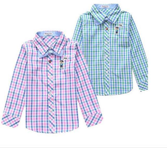 2014 New baby boy shirt pink green long sleeve cotton cartoon bear plaid  shirt kids boys shirt children shirts - Online Shop 2014 New Baby Boy Shirt Pink Green Long Sleeve Cotton