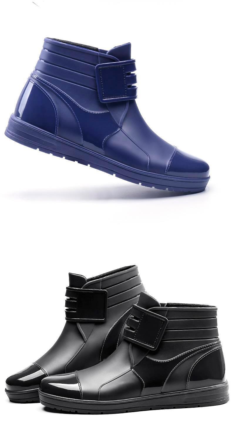 HTB1tw4JKXGWBuNjy0Fbq6z4sXXal - Dwayne 2018 Fashion PVC Waterproof RainBoots Waterproof Flat Shoes Men Black Rainboots Blue Rubber Ankle Boots Buckle Botas