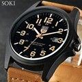 Original SOKI Fashion Brand Quartz Military Watches Accurate Calendar Movement Watches Brown Strap Men's Leisure Fashion Watches