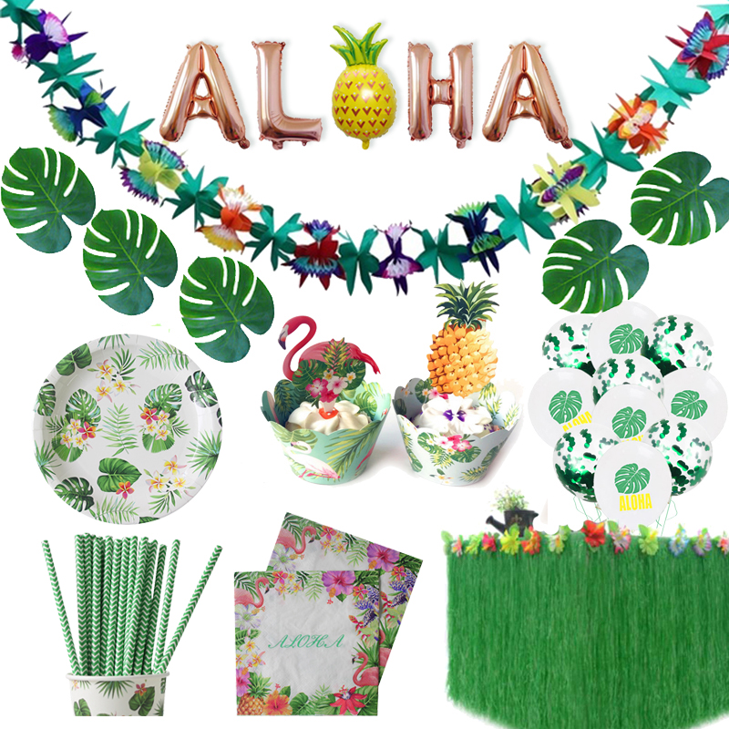 Hawaiian Party Decorations Artificial Flowers Palm Leaves Bunting Banner Luau Flamingo Summer Tropical Party Wedding Decoration