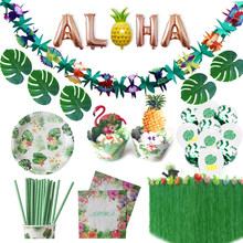 Hawaiian Party Dekorationen Künstliche Blumen Palm Blätter Bunting Banner Luau Flamingo Sommer Tropical Party Hochzeit Dekoration(China)