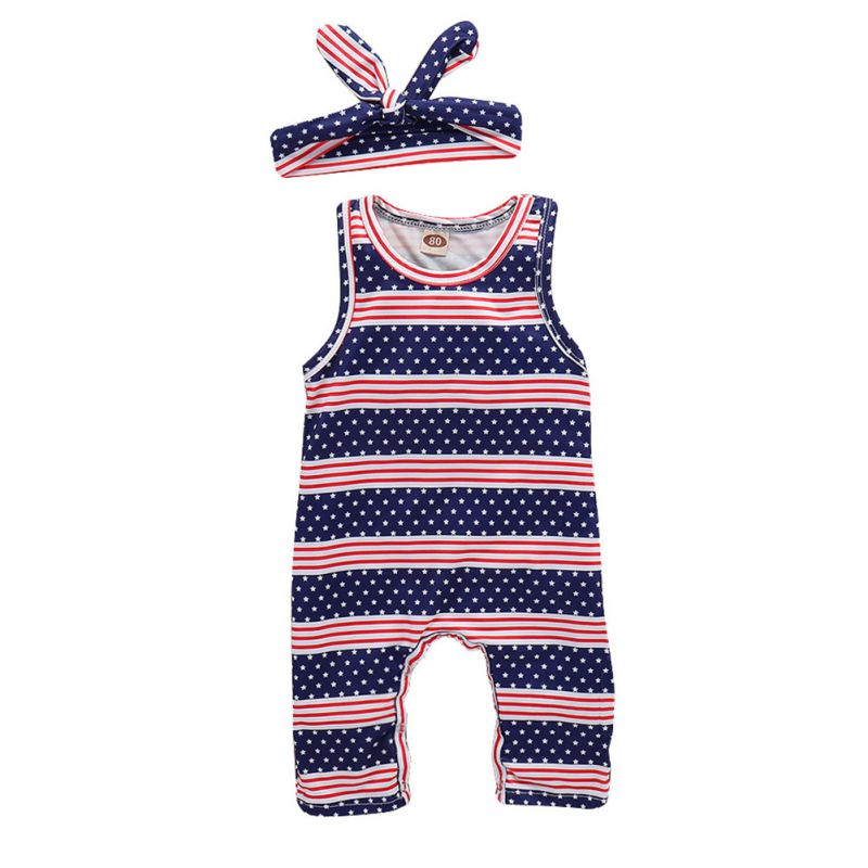 2PCS Baby Girl Clothes Onesies Baby Bodysuits Stripes Stars + Hair Band Baby Girl Clothes Set Summer Jumpusits 2018