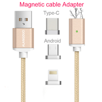 ALANGDUO Braided 3 IN 1 Magnetic Cable Adapter For Iphone6s Data Fast Charging Cable for SamsungUsb Type C 3in1 cable Adapter