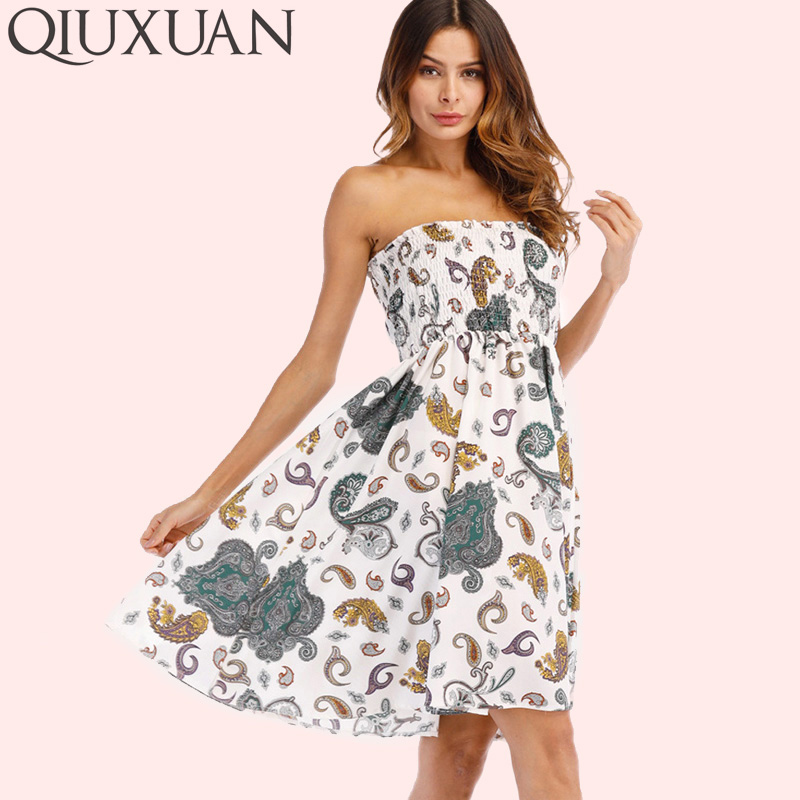 QIUXUAN Calico Print Fit and Flare Midi Dress Fashion Shirred High Waist Sleeveless Strapless Dress Women Bandeau Dress