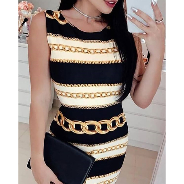 New sexy print chain striped tight dress fashion round neck sleeveless mini dress