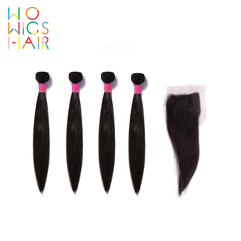 WoWigs Hair Malaysian Hair Remy Hair Straight Hair 4 / 3 Bundles Deal With Top Lace Closure  Natural Color 1B