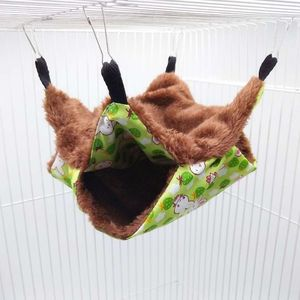 Pet Hammock Double-layer Plush Soft Winter Warm Hanging Nest Sleeping Bed Small Pets Hamster Squirrel Chinchilla House(China)
