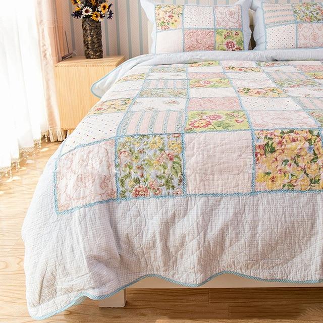 CHAUSUB Patchwork Cotton QUILT SET 4PC Floral Quilts Washed Cotton ... : cotton quilts - Adamdwight.com