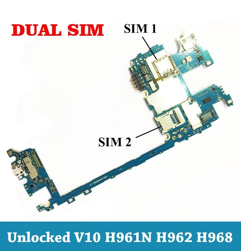 Ymitn Débloqué Double Sim Mobile Électronique panneau carte mère Carte Mère Circuits Flex Câble Pour LG V10 H961 H962 H968