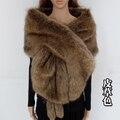 Longo grande xale de pele de espessura da pele do falso cachecol imitado pele de capa de pele de raposa mulheres inverno quente pashmina