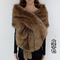 long large fur shawl thick faux fur scarf imitated fox fur cape winter women warm fur pashmina
