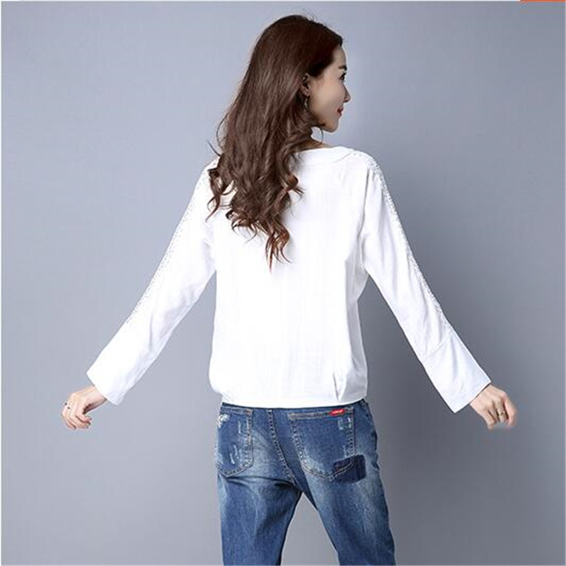a361a025da7d Spring T shirt Latest Fashion Women T shirt High quality Cotton linen Loose  Tops Round collar Pure color Long sleeve Tops ok214-in T-Shirts from Women s  ...