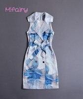 Mifairy Runway Dress 2017 Clouds Print Bodycon Women Dress Brand Same Style Turn Down Collar Sleeveless