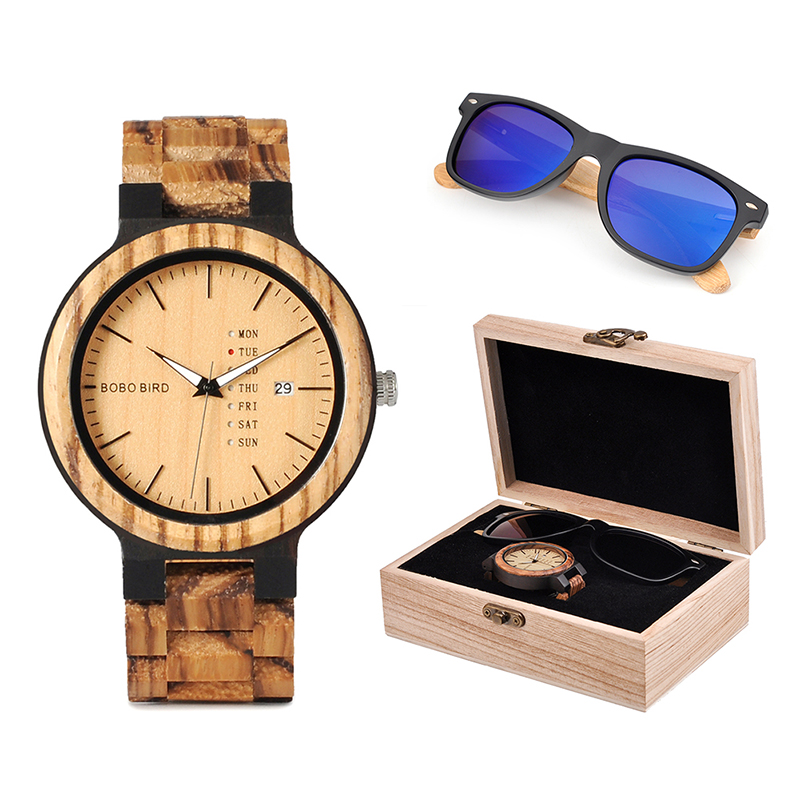 BOBO BIRD Classic Men Custom Wood Watch and Wooden Sunglasses Suit Present Box Gift Set for