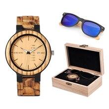Bobo Vogel Klassieke Mannen Custom Hout Horloge En Houten Zonnebril Pak Huidige Doos Gift Set Voor Papa Vaders Dag