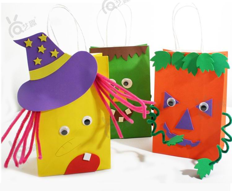 4 Pcs Diy Halloween Color Paper Bag For Kids Child Sticker Toys