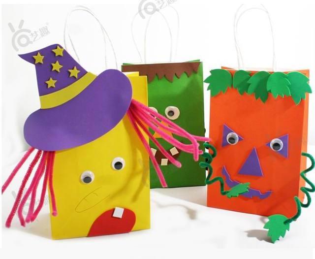 4 Pcs Diy Halloween Color Paper Bag For Kids Child Sticker Toys