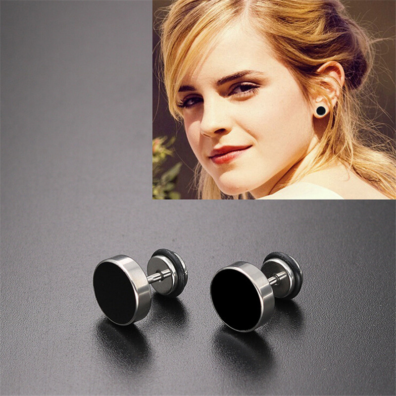 1Pair New Simple Punk Black Color Drip Round Stainless Stud Earring for Women & Men Helix Ear Piercings Fashion Jewelry Gifts
