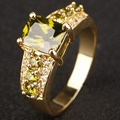 Jewelry Brand New Unisex Shining Green Peridot Yellow Gold Filled Engagement Ring Wholesale Sale R017YGP
